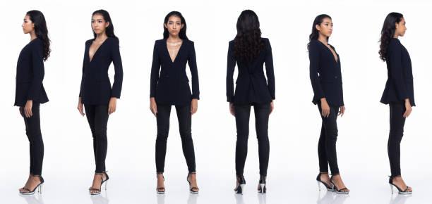 asiático mujer negro pelo soporte 360 vuelta lado trasero vista retro isoalted - 360 fotografías e imágenes de stock