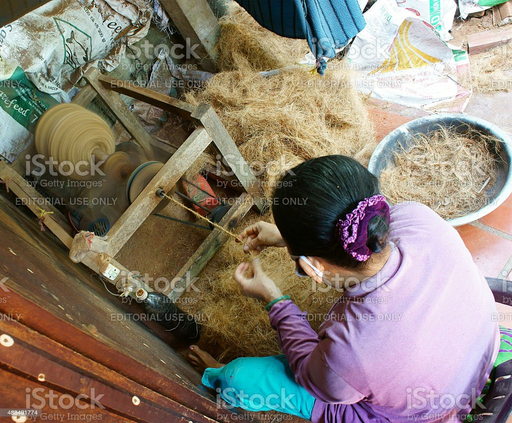 Asian woman, coconut fiber, material, tradition product stock photo