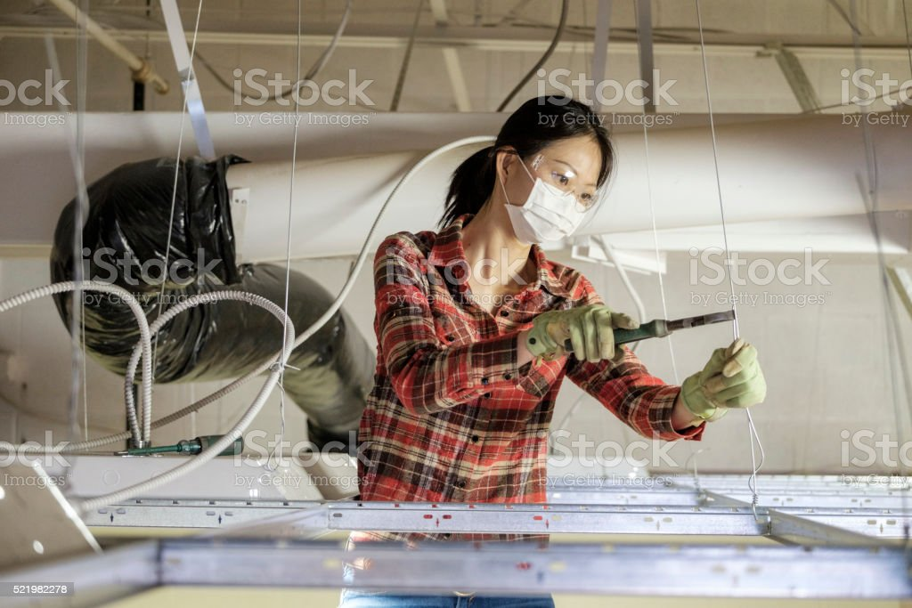 Asian Woman Construction Worker stock photo