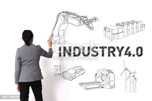 istock asian woman drawing illustrations of Industry4.0 on white wall 681766328