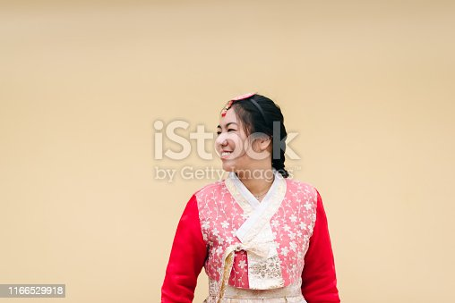 Asian woman dressed Hanbok pose of standing in Seoul, South Korea