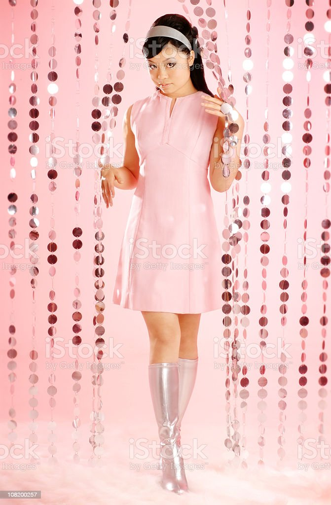 Asian Woman Dressed in Retro Clothing royalty-free stock photo