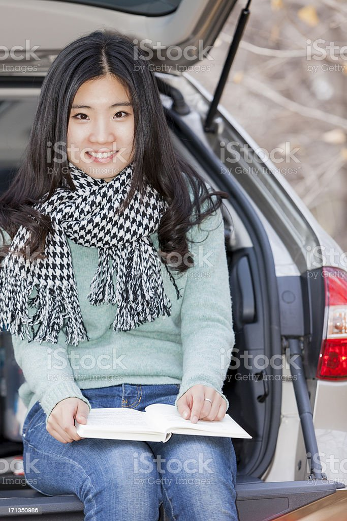 asian woman driving royalty-free stock photo