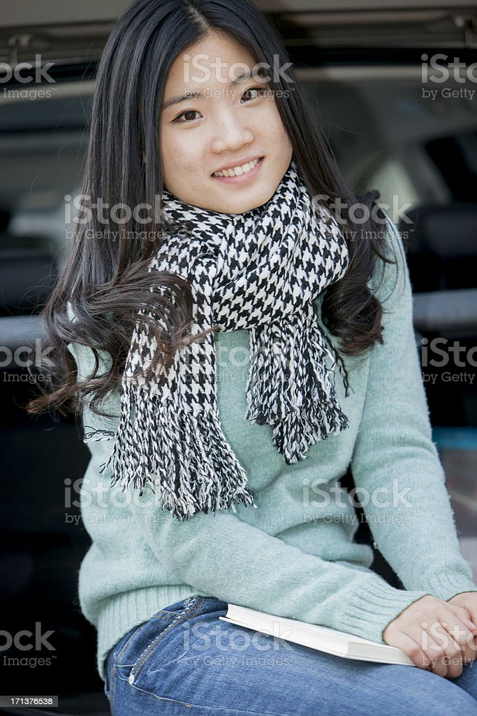 asian woman driving royalty-free stock photo