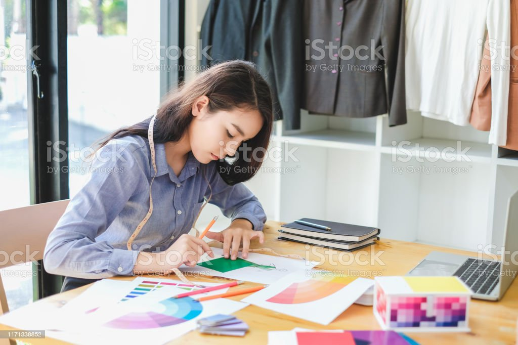 Asian Woman Fashion Designer Work At Home Happily Internship Designer About Fashion Clothing Stock Photo Download Image Now Istock