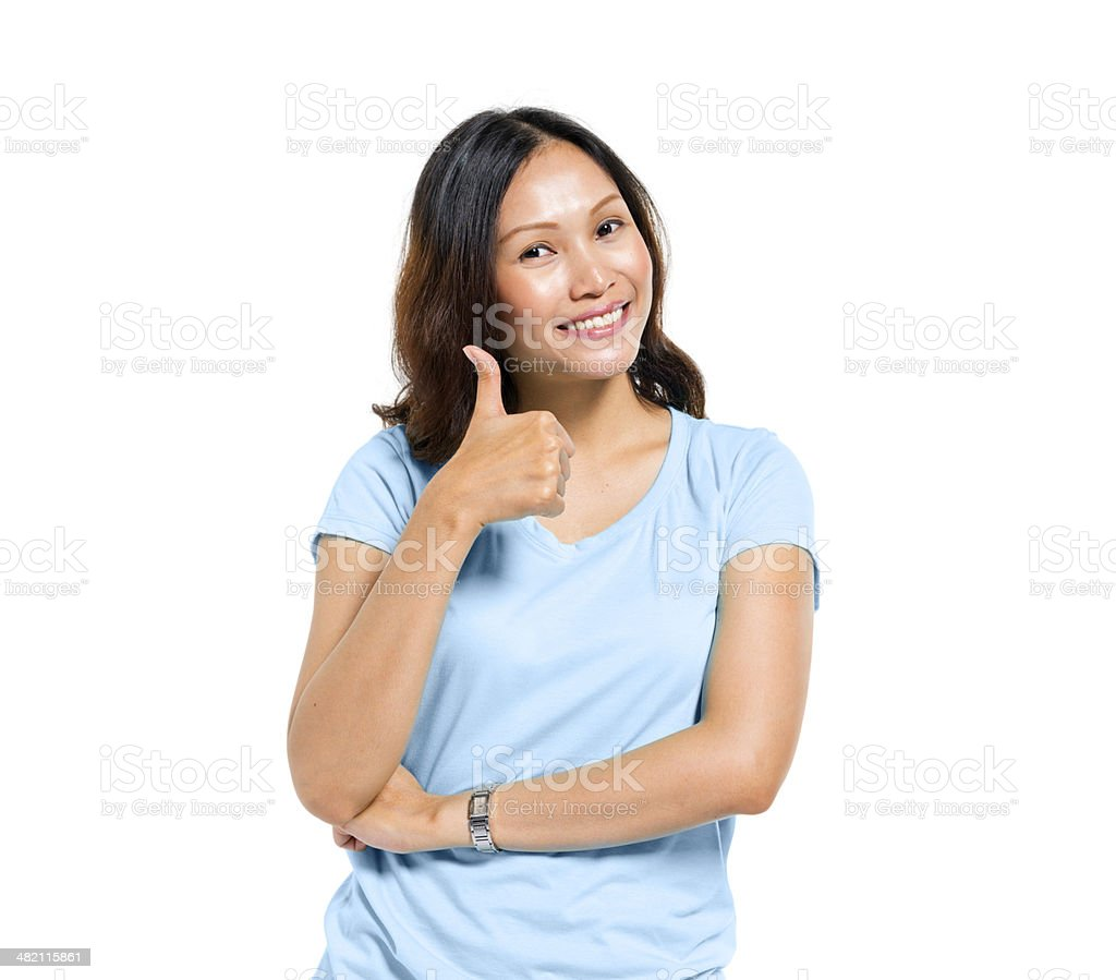 Asian Woman Giving Thumbs Up stock photo