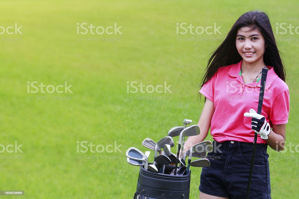 Asian woman golf player royalty-free stock photo