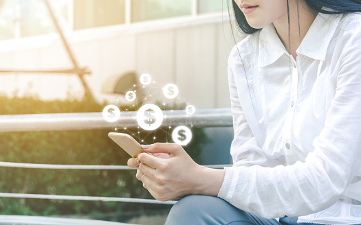 istock Asian woman hand using mobile phone with online transaction application, Concept financial technology (fintech) 1163725076