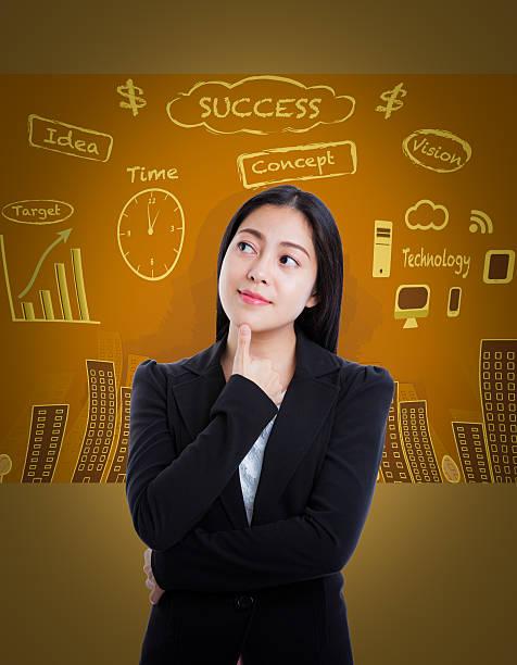 asiatische frau mit vielen ideen auf business-hintergrund. - markenuhren damen stock-fotos und bilder