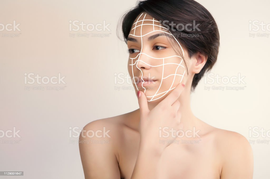 Asian Woman Headshot With Surgery Marks Or Massaging Lines Anti Aging Therapy Concept Stock Photo Download Image Now Istock