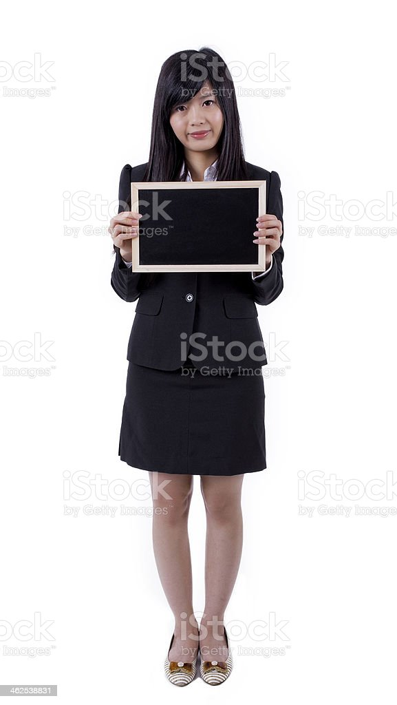 Asian woman holding board , black screen for texture stock photo