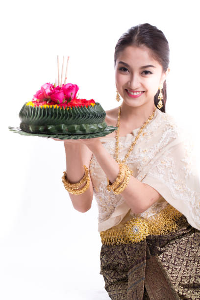 asian woman holding khratong - kratong stock photos and pictures
