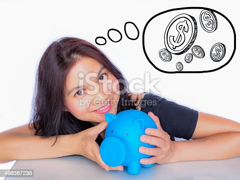 481974106istockphoto Asian woman holding piggy bank, thinking about her money 498387235