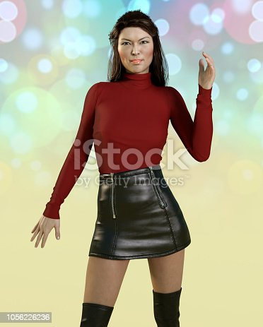 1137329370istockphoto Asian woman in sexy leather skirt 1056226236