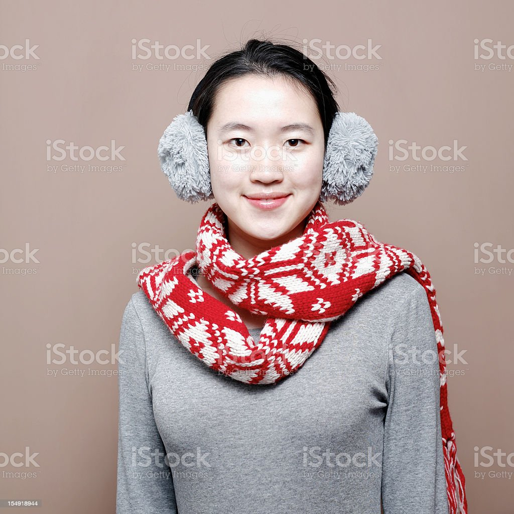 Asian woman in winter clothes royalty-free stock photo