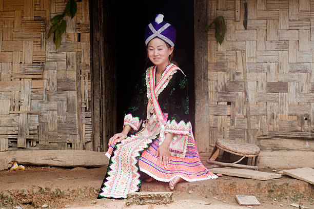 Asian woman Laos in traditional clothes, Hmong stock photo