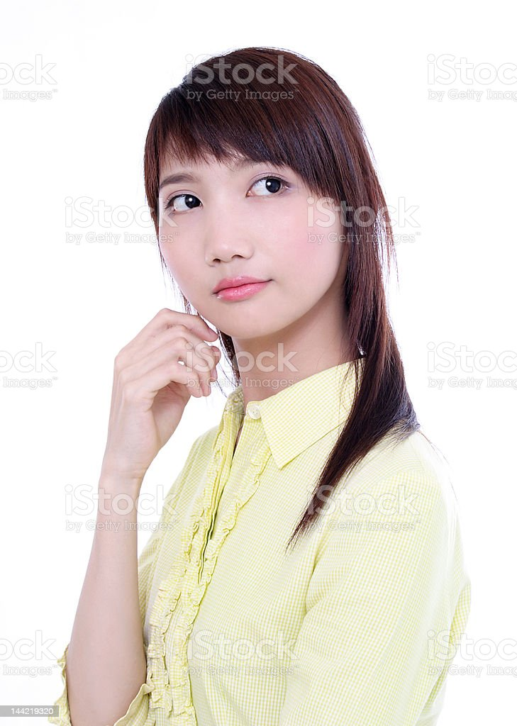 Asian woman looing back royalty-free stock photo