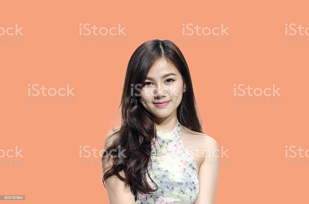 Foto De Asian Woman Model Smiling With Dimple Long Hair E Mais Banco
