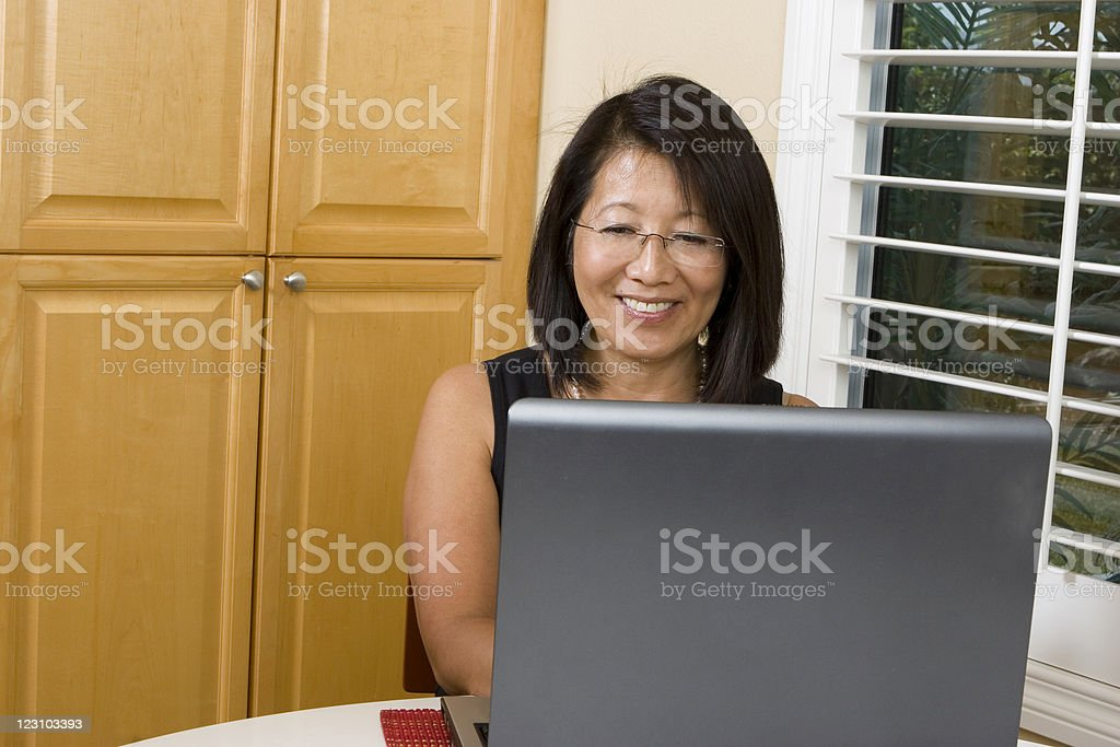 Asian woman on the computer royalty-free stock photo
