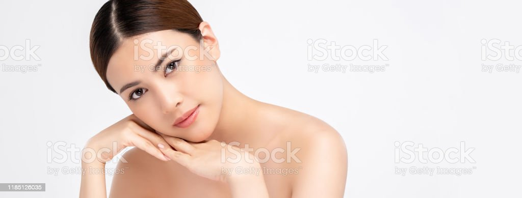 Asian Woman On White Banner Background For Beauty And Skincare Concepts Stock Photo Download Image Now Istock