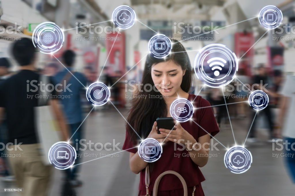 Asian woman passenger suit using the smart mobile phone over Wireless communication connecting of smart city Internet of Things Technology in the  Skytrain rails or subway, lifestyle concept stock photo