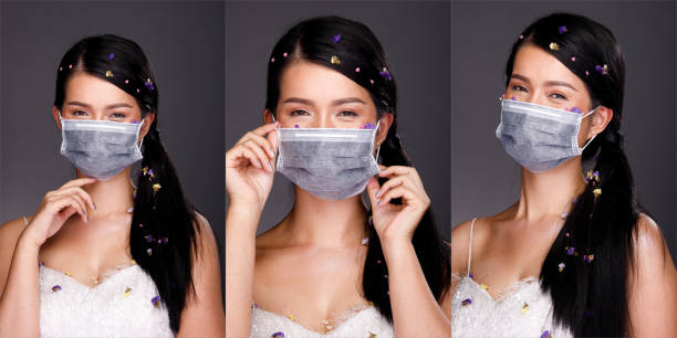 asian woman portrait rear side back view turn 360 protective face mask - ritratto 360 gradi foto e immagini stock