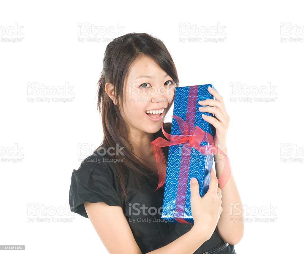 Asian Woman Receiving Gift. stock photo