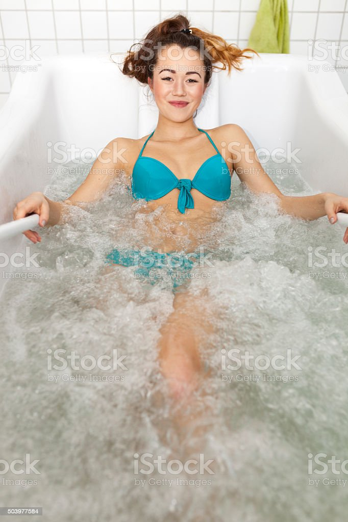 Asian Woman Relaxing In Hydromassage Tub Stock Photo & More Pictures ...