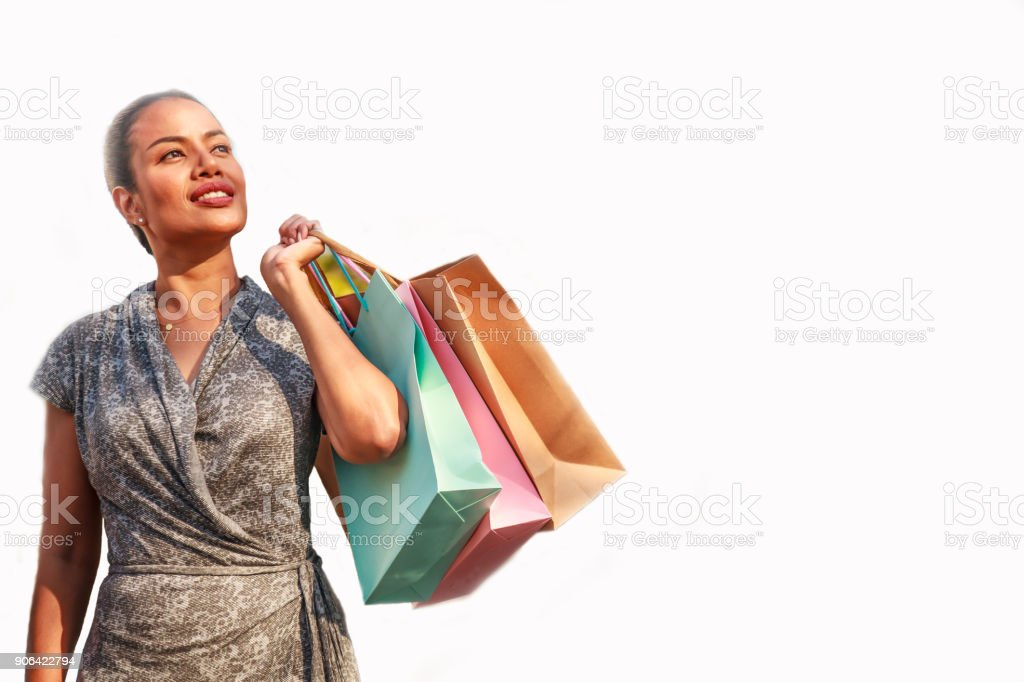 bf56029b4e3f mulher asiática compras compras e segurando coloridos sacos de compras,  olhando-se lateralmente no