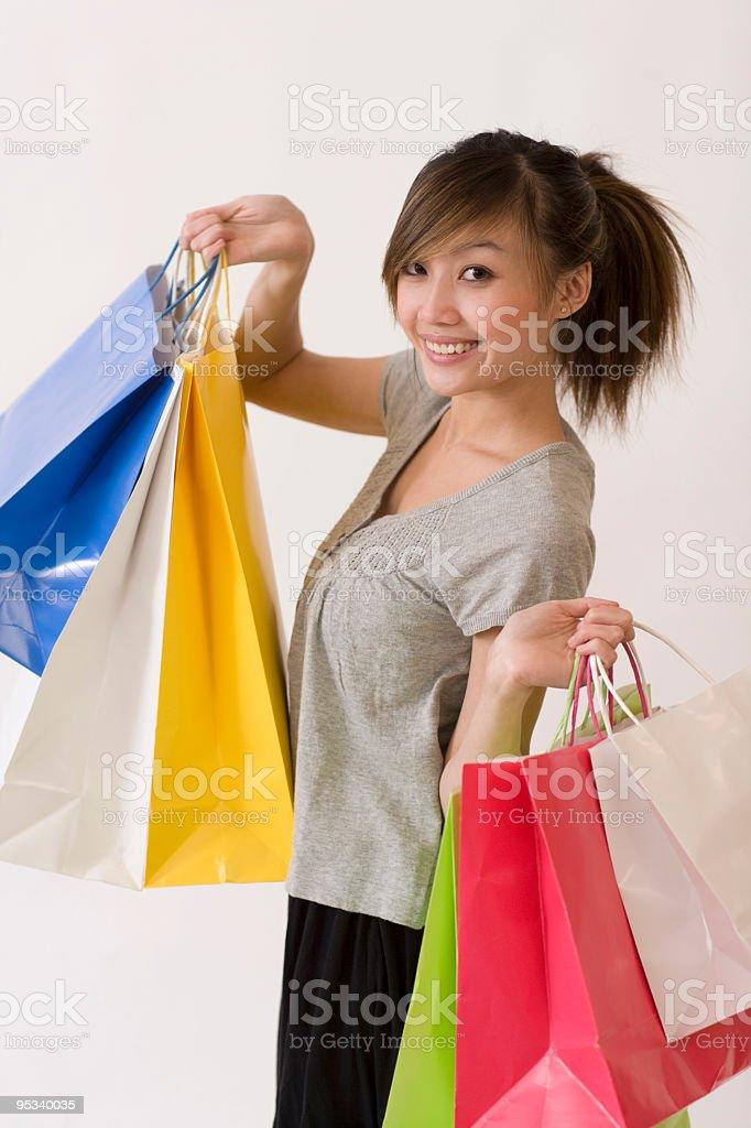 Asian woman shopping royalty-free stock photo