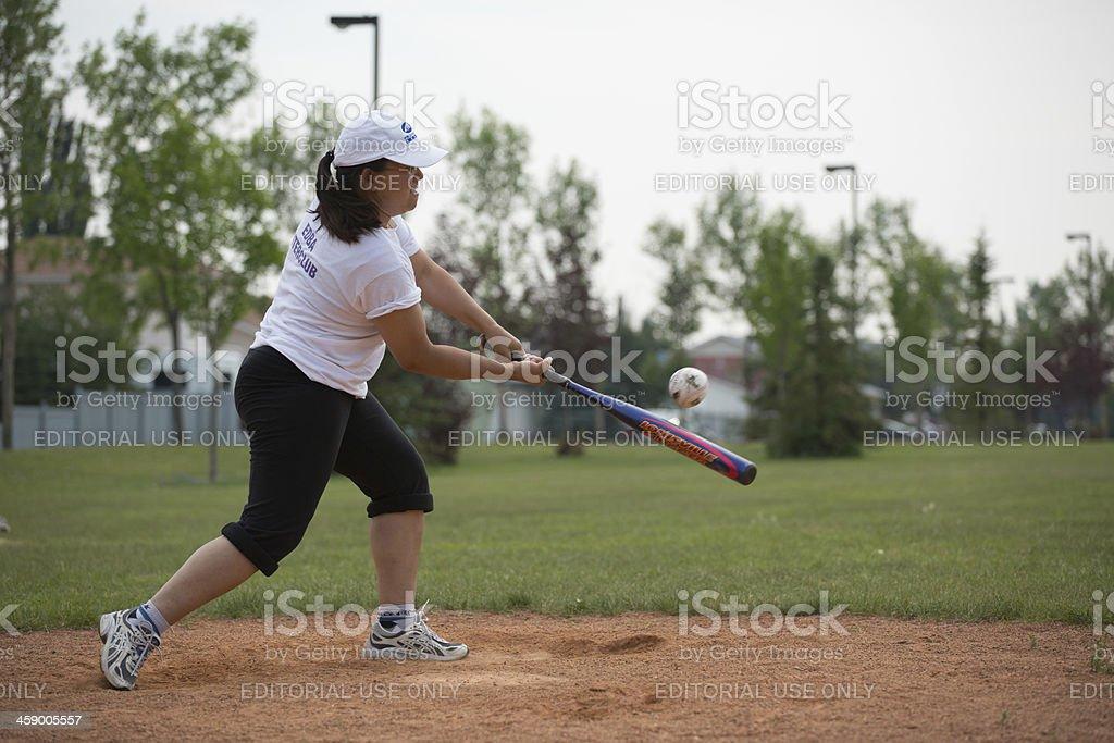 Asian woman softball player stock photo