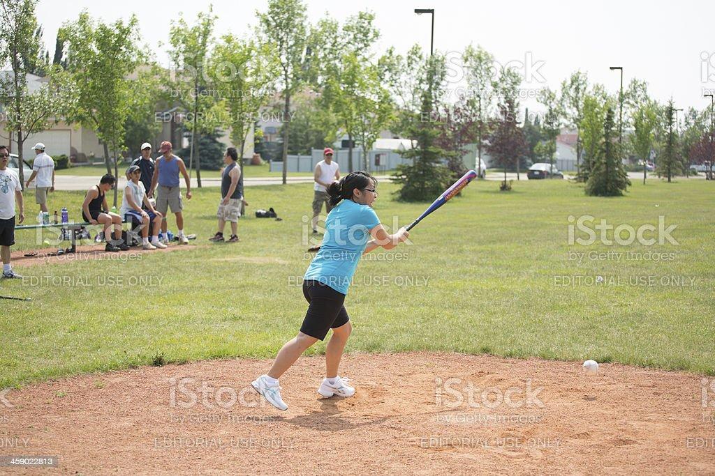Asian woman softball player royalty-free stock photo