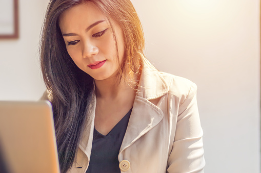 Asian Woman Suffering From Mental Illness Business Woman In Depression Fear Sad And Unhappy From Work Environment At Office Workplace Stock Photo & More Pictures of Addiction