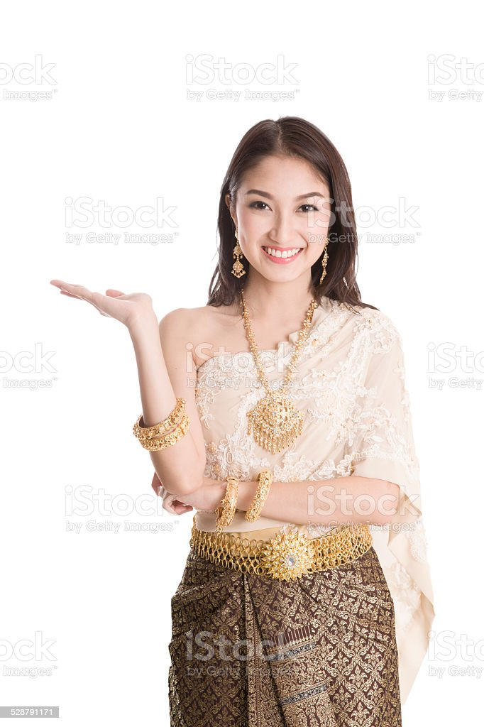 Asian woman traditional dance with white background stock photo