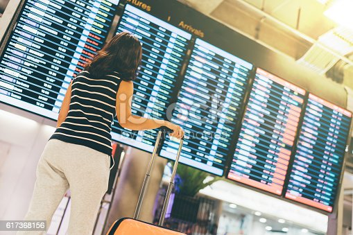 469824732istockphoto Asian woman traveler looking at flight information screen in airport 617368156