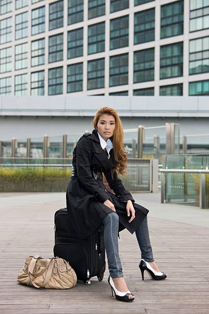 Asian woman waiting stock photo