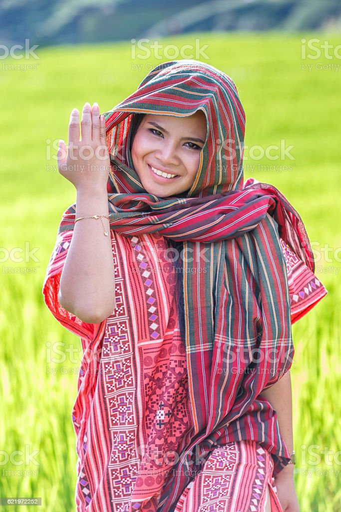 Asian woman wear traditional costume stock photo