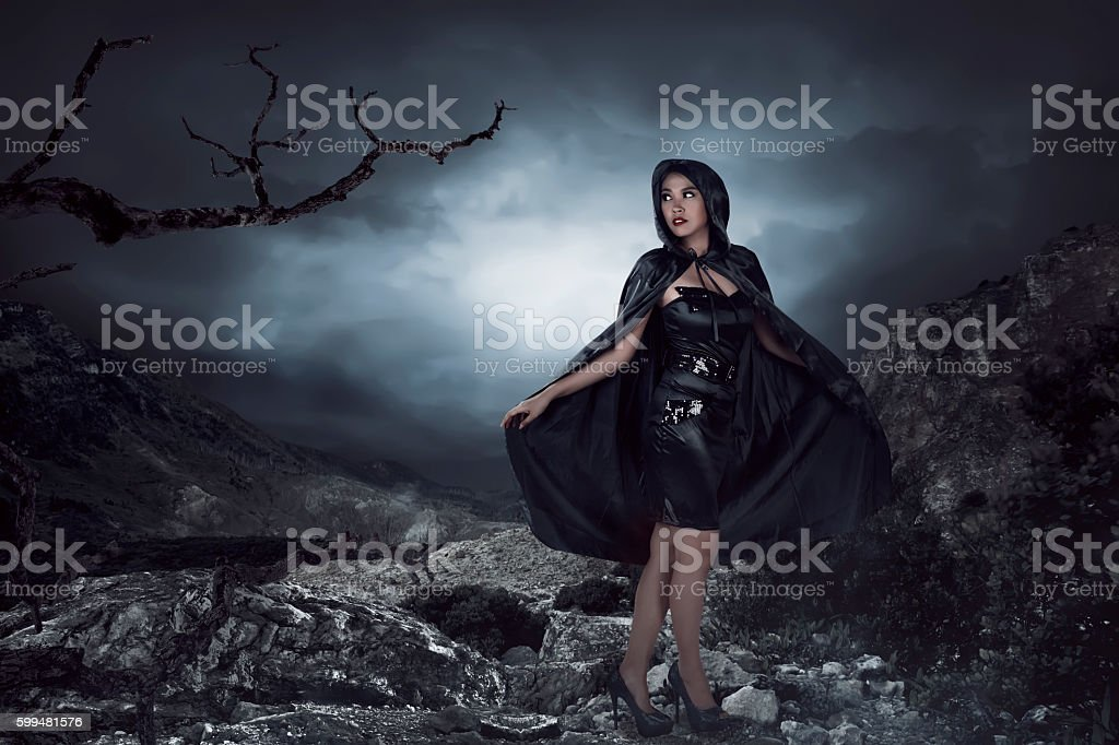 Asian woman wearing black costume stock photo