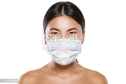 istock Asian woman wearing facial mask  for protection from air pollution or virus epidemic 1151269939