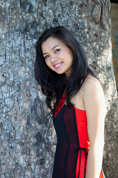 asian woman wearing tradititional vietnamese ao dai dress - ao dai stock photos and pictures