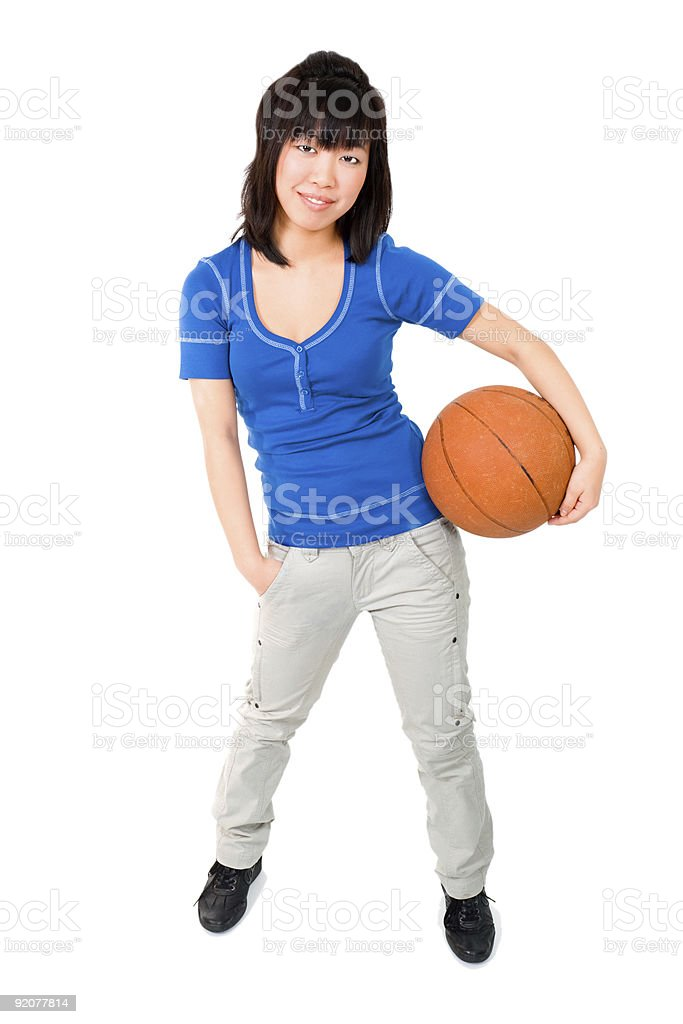 Asian woman with basketball ball royalty-free stock photo