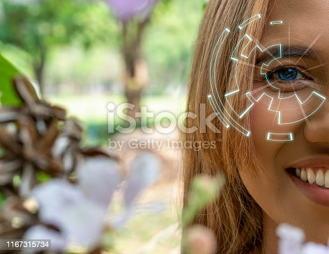 istock Asian woman with futuristic contact lens Augmented reality vision 1167315734