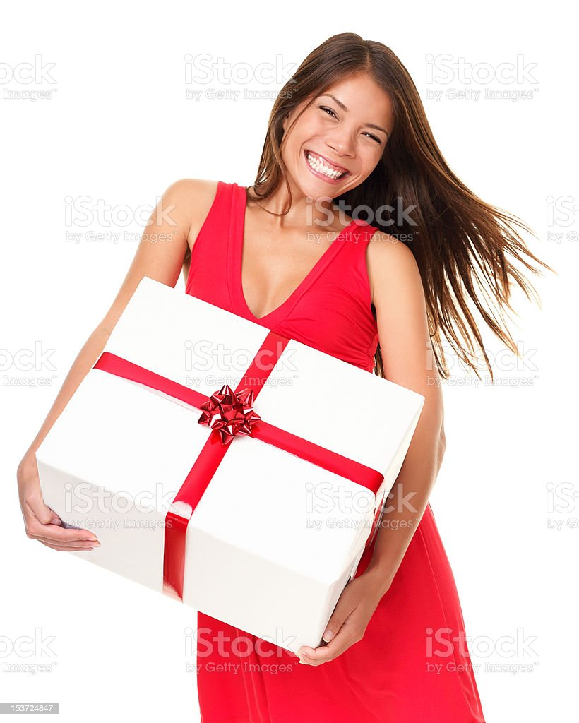 Asian woman with gift stock photo