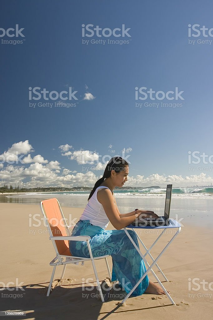 Asian Woman With Laptop royalty-free stock photo