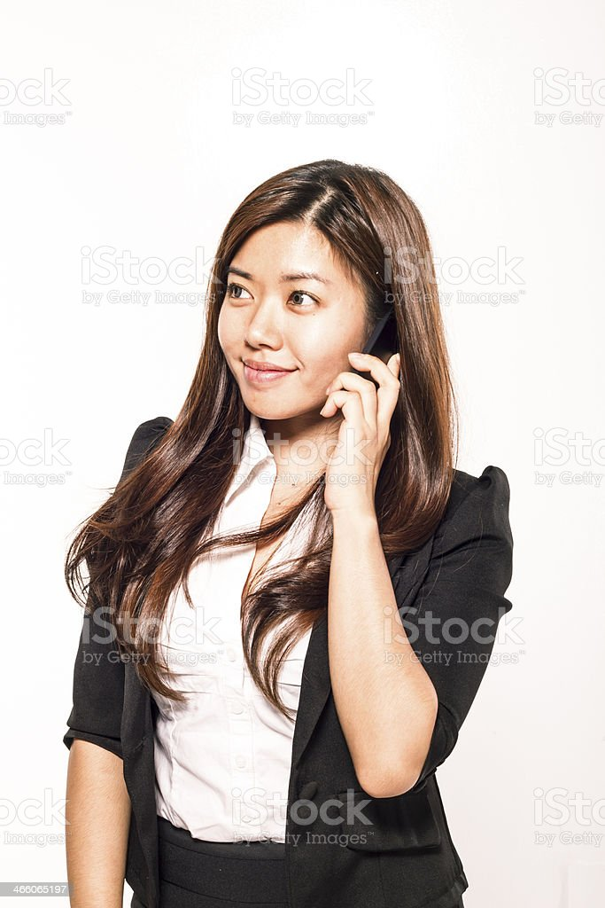 asian woman with mobilephone stock photo