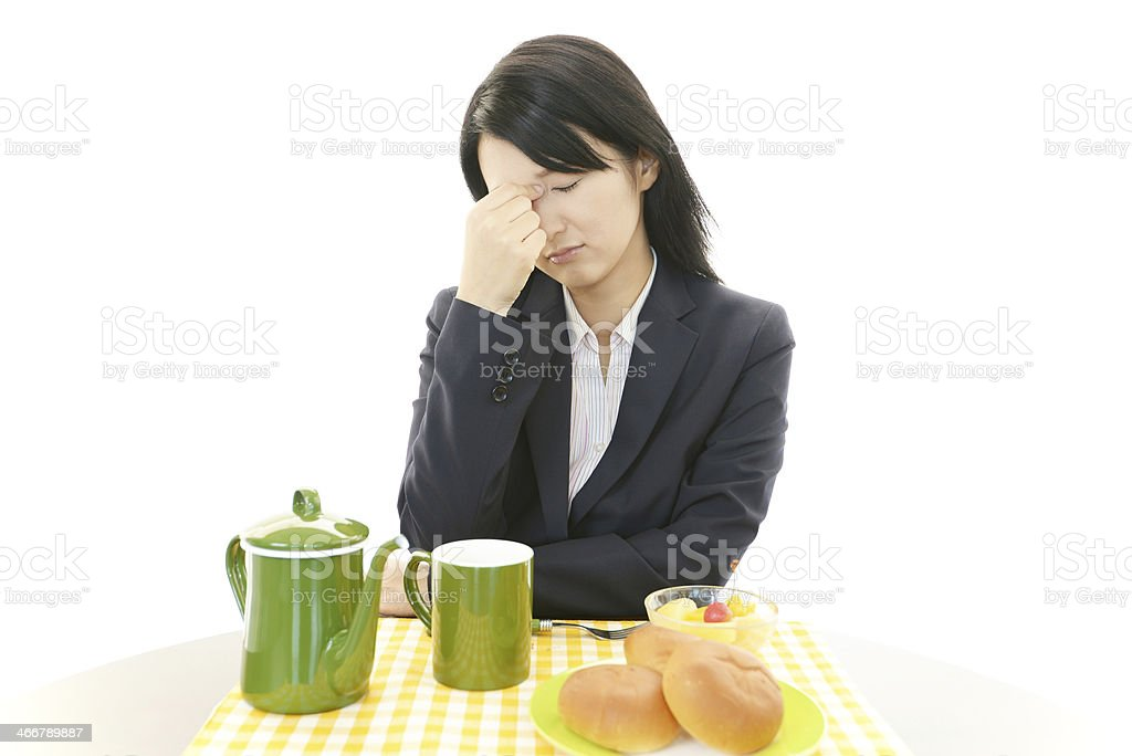 Asian woman with no appetite stock photo