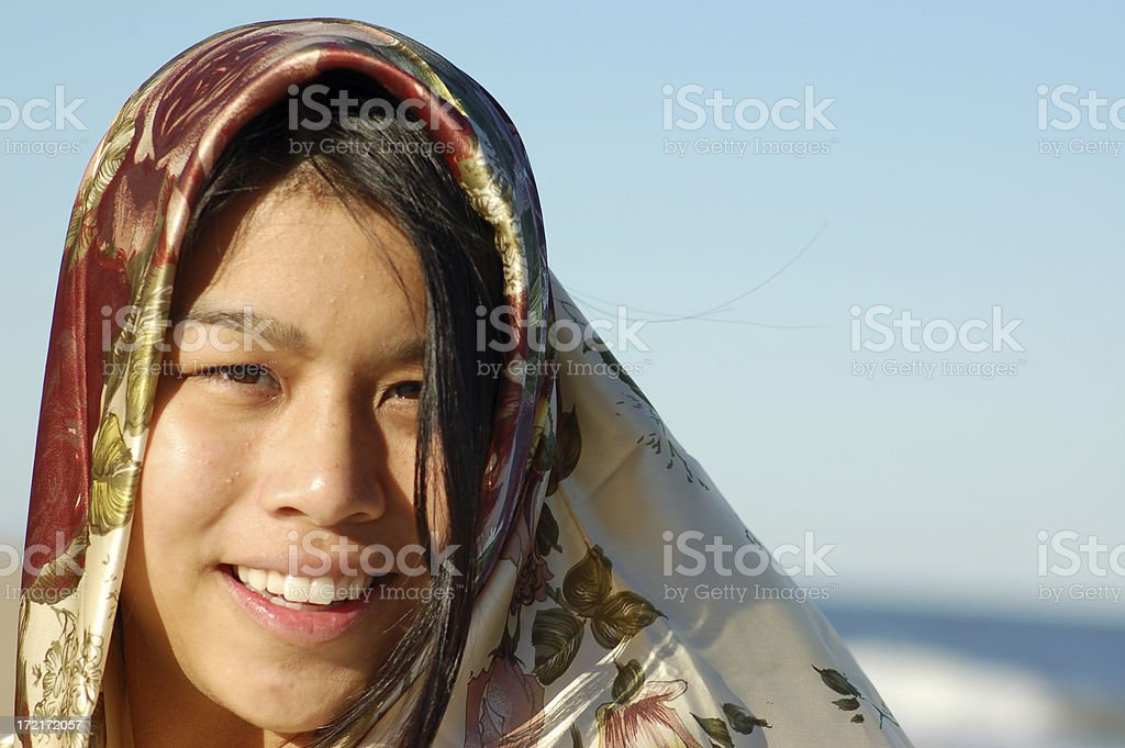 Asian Woman with Scarf royalty-free stock photo