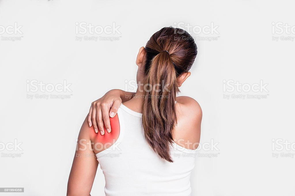 Asian woman with shoulder pain stock photo