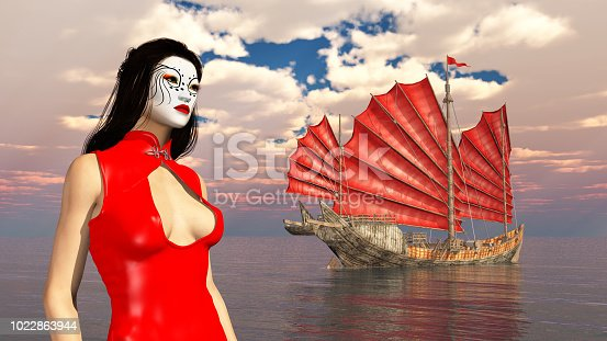 1137329370istockphoto Asian woman with theatrical makeup and Chinese junk ship 1022863944