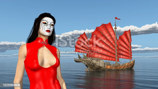 1137329370istockphoto Asian woman with theatrical makeup and Chinese junk ship 1023384808